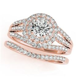 1.41 CTW Certified VS/SI Diamond 2Pc Wedding Set Solitaire Halo 14K Rose Gold - REF-157R6K - 30982