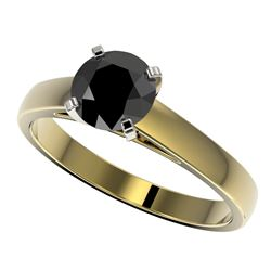 1.25 CTW Fancy Black VS Diamond Solitaire Engagement Ring 10K Yellow Gold - REF-32X5R - 33005