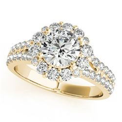 1.76 CTW Certified VS/SI Diamond Solitaire Halo Ring 18K Yellow Gold - REF-247M3F - 26699
