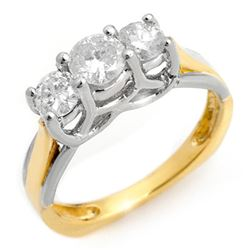 0.75 CTW Certified VS/SI Diamond Ring 14K 2-Tone Gold - REF-84V5Y - 10261
