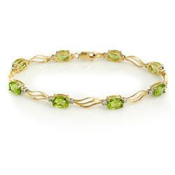7.02 CTW Peridot & Diamond Bracelet 10K Yellow Gold - REF-41X5R - 10785