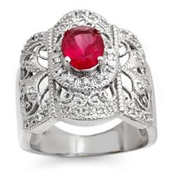 2.15 CTW Rubellite & Diamond Ring 10K White Gold - REF-75X3R - 10686