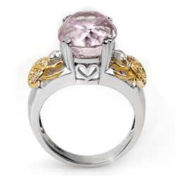 9.20 CTW Kunzite & Diamond Ring 10K 2-Tone Gold - REF-145X5R - 11046