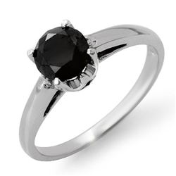 1.0 CTW VS Certified Black Diamond Solitaire Ring 14K White Gold - REF-41R8K - 11792