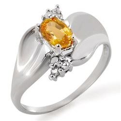 0.79 CTW Yellow Sapphire & Diamond Ring 18K White Gold - REF-48V2Y - 11418