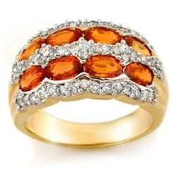 3.75 CTW Orange Sapphire & Diamond Ring 14K Yellow Gold - REF-105X5R - 11506