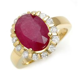 4.65 CTW Ruby & Diamond Ring 10K Yellow Gold - REF-75Y8X - 11260