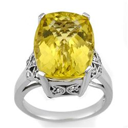 12.20 CTW Lemon Topaz & Diamond Ring 14K White Gold - REF-60K4W - 10509