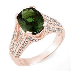 4.55 CTW Green Tourmaline & Diamond Ring 14K Rose Gold - REF-121A5V - 11605