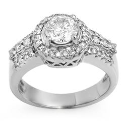 1.65 CTW Certified VS/SI Diamond Ring 14K White Gold - REF-374X9R - 11384