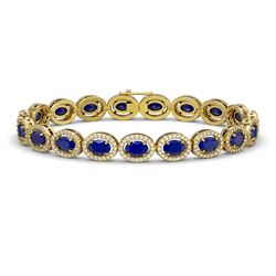 15.2 CTW Sapphire & Diamond Bracelet Yellow Gold 10K Yellow Gold - REF-244K2W - 40459