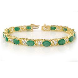 12.05 CTW Emerald & Diamond Bracelet 10K Yellow Gold - REF-81A3V - 11217