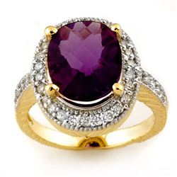 5.50 CTW Amethyst & Diamond Ring 14K Yellow Gold - REF-76X2R - 11165