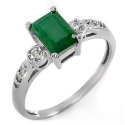 1.45 CTW Emerald & Diamond Ring 18K White Gold - REF-36K9W - 11321