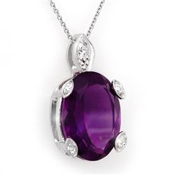 10.10 CTW Amethyst & Diamond Necklace 18K White Gold - REF-50N2A - 10562