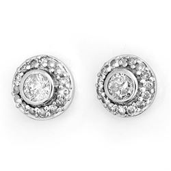 0.90 CTW Certified VS/SI Diamond Solitaire Stud Earrings 18K White Gold - REF-103W3H - 11465