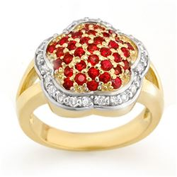 1.50 CTW Red Sapphire & Diamond Ring 14K Yellow Gold - REF-74V9Y - 10542