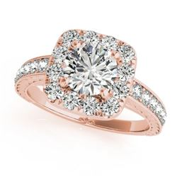 1.36 CTW Certified VS/SI Diamond Solitaire Halo Ring 18K Rose Gold - REF-241V8Y - 26549