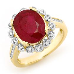 5.83 CTW Ruby & Diamond Ring 10K Yellow Gold - REF-81V8Y - 13438