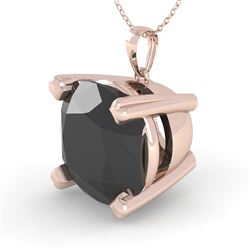 6.0 CTW Cushion Black Diamond Designer Necklace 14K Rose Gold - REF-131A3V - 38442
