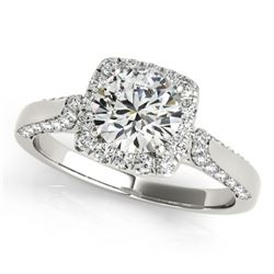 1.08 CTW Certified VS/SI Diamond Solitaire Halo Ring 18K White Gold - REF-140H2M - 26245