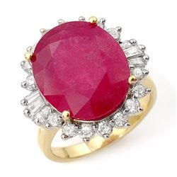 13.12 CTW Ruby & Diamond Ring 14K Yellow Gold - REF-126M9F - 12943