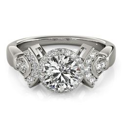 1.56 CTW Certified VS/SI Diamond Solitaire Halo Ring 18K White Gold - REF-506F9N - 26949