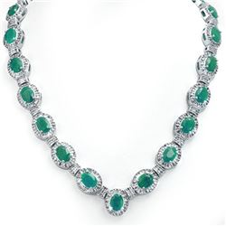 37.70 CTW Emerald & Diamond Necklace 14K White Gold - REF-800F2N - 13403