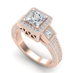3.53 CTW Princess VS/SI Diamond Micro Pave 3 Stone Ring 18K Rose Gold - REF-618R2K - 37176