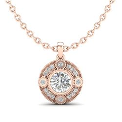 1.01 CTW VS/SI Diamond Solitaire Art Deco Stud Necklace 18K Rose Gold - REF-221A8V - 36984