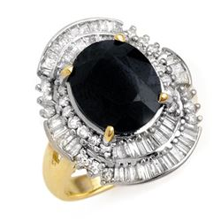 5.95 CTW Blue Sapphire & Diamond Ring 14K Yellow Gold - REF-131Y3X - 12844