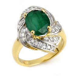 3.29 CTW Emerald & Diamond Ring 14K Yellow Gold - REF-70M9F - 13116