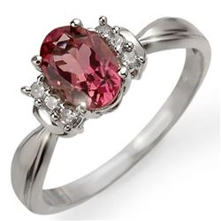 1.06 CTW Pink Tourmaline & Diamond Ring 18K White Gold - REF-38X4R - 13549