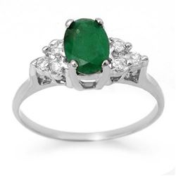 1.18 CTW Emerald & Diamond Ring 18K White Gold - REF-41K8W - 13967