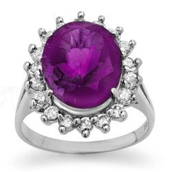 4.0 CTW Amethyst & Diamond Ring 14K White Gold - REF-70W9H - 13672