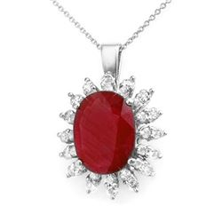 8.25 CTW Ruby & Diamond Pendant 18K White Gold - REF-111N8A - 12893