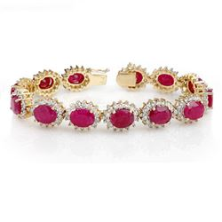 42.12 CTW Ruby & Diamond Bracelet 14K Yellow Gold - REF-618K2W - 14055