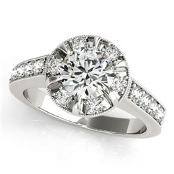 2 CTW Certified VS/SI Diamond Solitaire Halo Ring 18K White Gold - REF-471F5N - 27039