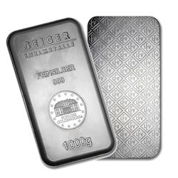 One piece 1 kilo 0.999 Fine Silver Bar Geiger Security Series-74694