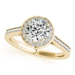 0.75 CTW Certified VS/SI Diamond Solitaire Halo Ring 18K Yellow Gold - REF-132N7A - 26358