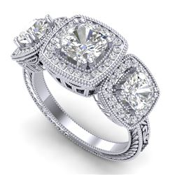 2.75 CTW Cushion Cut VS/SI Diamond Art Deco 3 Stone Band 18K White Gold - REF-609X3R - 37040
