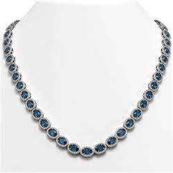33.25 CTW London Topaz & Diamond Necklace White Gold 10K White Gold - REF-511Y3X - 40436