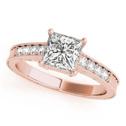 0.65 CTW Certified VS/SI Princess Diamond Solitaire Antique Ring 18K Rose Gold - REF-136M4F - 27226