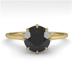 1.50 CTW Black Certified Diamond Solitaire Engagement Ring Size 7 18K Yellow Gold - REF-60F2N - 3576