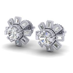 1.77 CTW VS/SI Diamond Solitaire Art Deco Stud Earrings 18K White Gold - REF-263N6A - 37064
