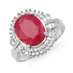6.07 CTW Ruby & Diamond Ring 14K White Gold - REF-127W3H - 13638