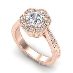 1.33 CTW VS/SI Diamond Solitaire Art Deco Ring 18K Rose Gold - REF-418H2M - 37104