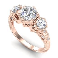 1.66 CTW VS/SI Diamond Solitaire Art Deco 3 Stone Ring 18K Rose Gold - REF-445A5V - 37224