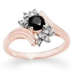 0.75 CTW VS Certified Black & White Diamond Ring 14K Rose Gold - REF-45F5N - 14024