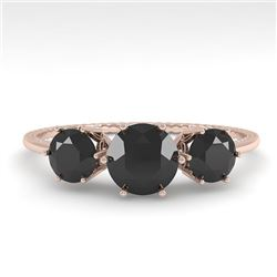 1 CTW Past Present Future Black Certified Diamond Ring 18K Rose Gold - REF-71A3V - 35906